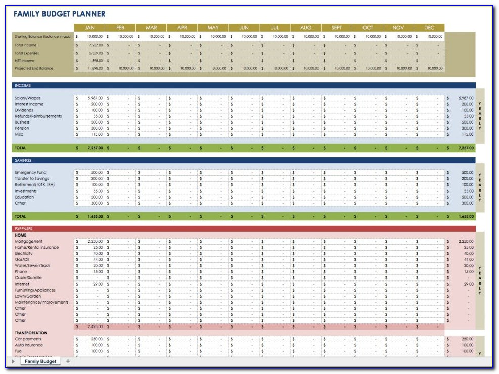 Family Monthly Budget Planner Excel Template