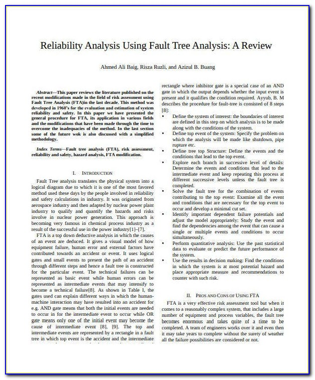Fault Tree Analysis Template Xls