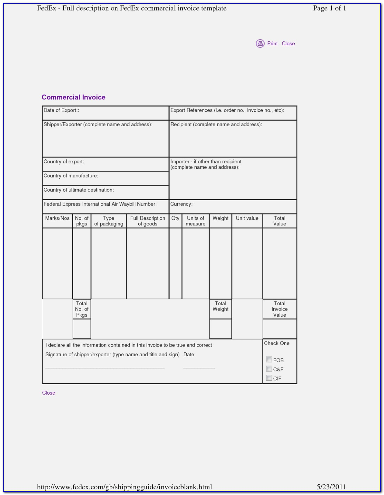Fedex Ltl Freight Bill Of Lading Form