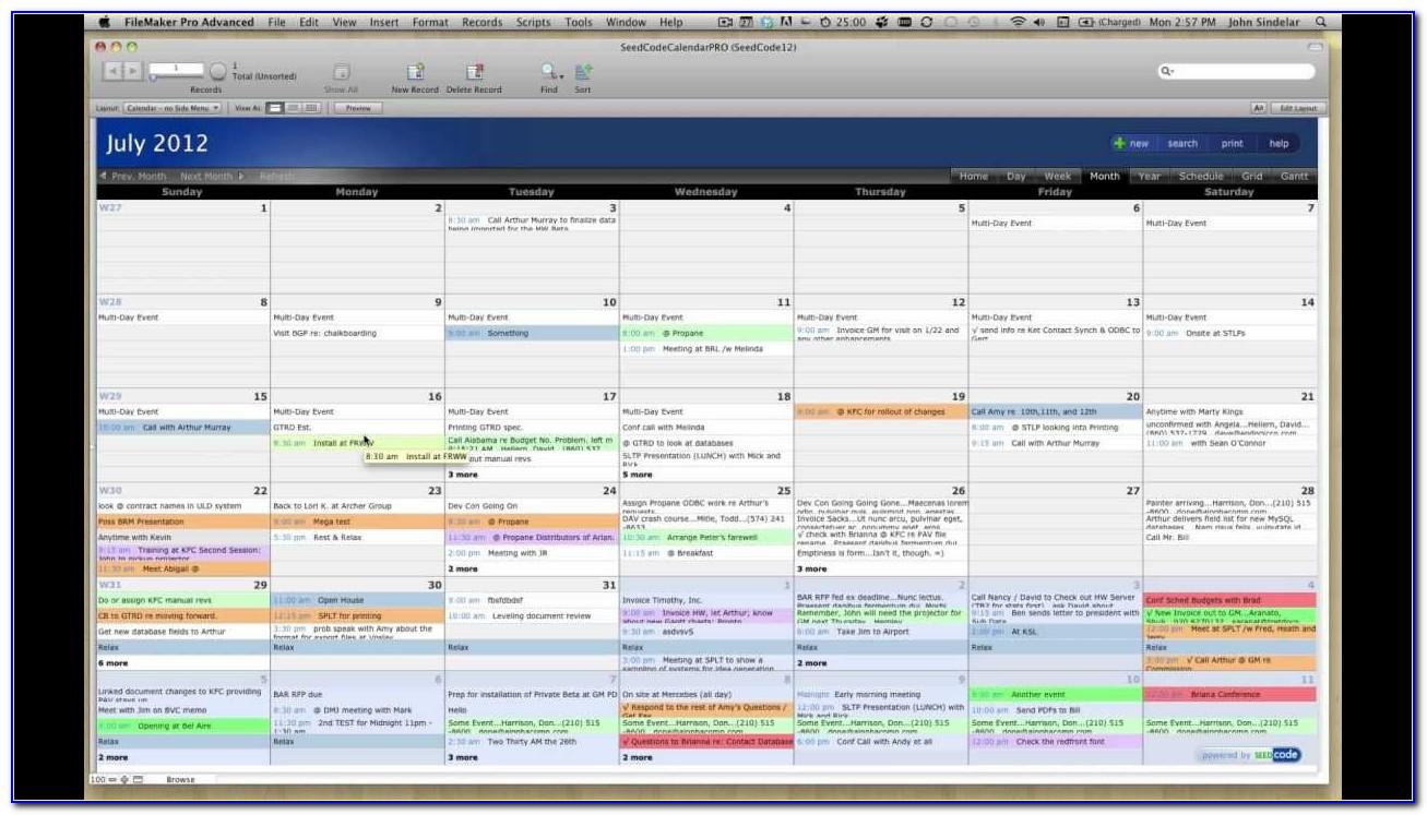 Filemaker 12 Calendar Template