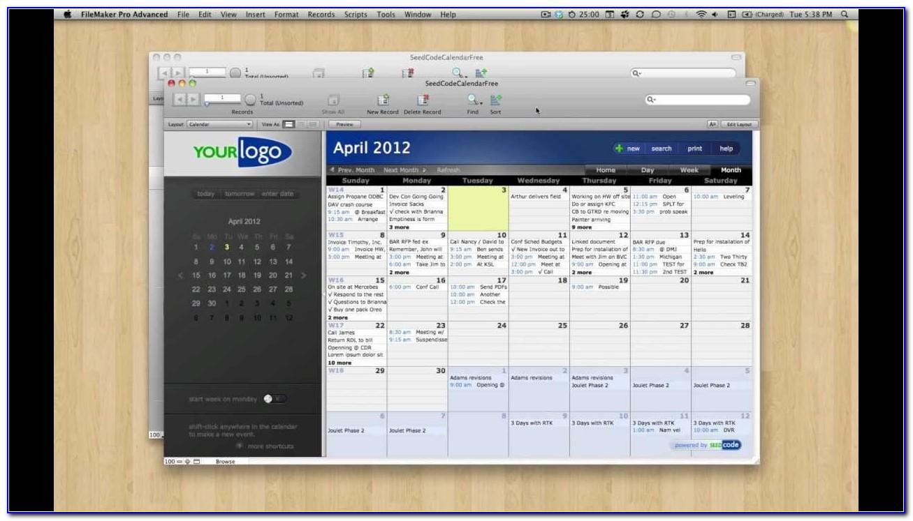Filemaker 13 Calendar Template
