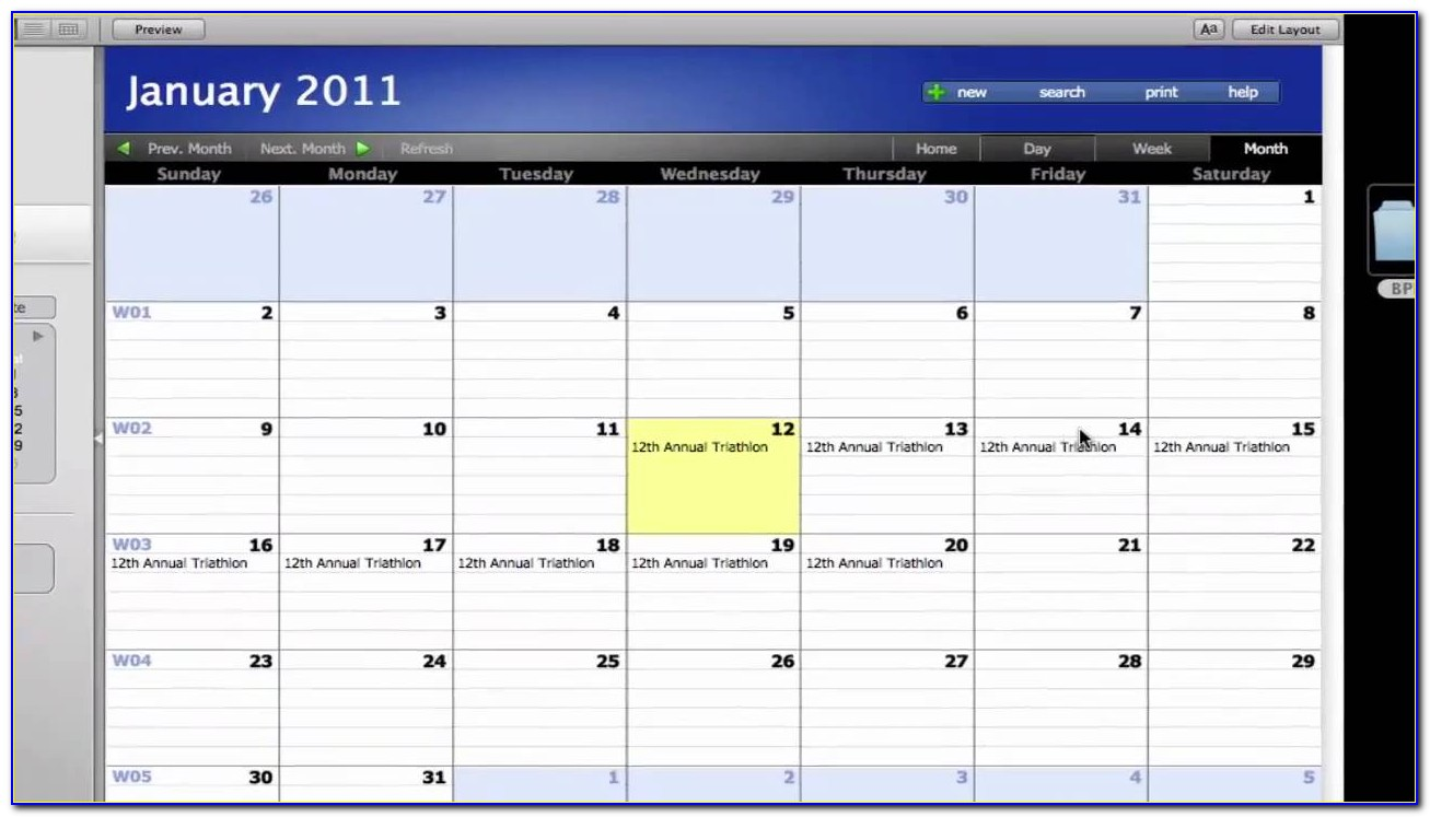 Filemaker Pro Calendar Template Free