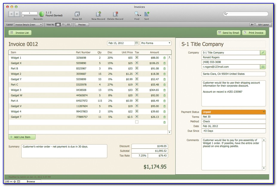 Filemaker Pro Pos Template