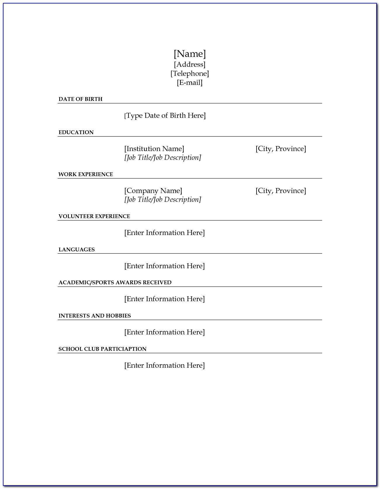 Fill In Resume Template Pdf Freefill In Resume Template Pdf Free