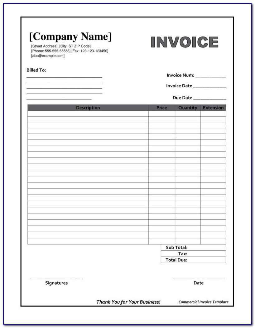 Fillable Invoice Form Pdf