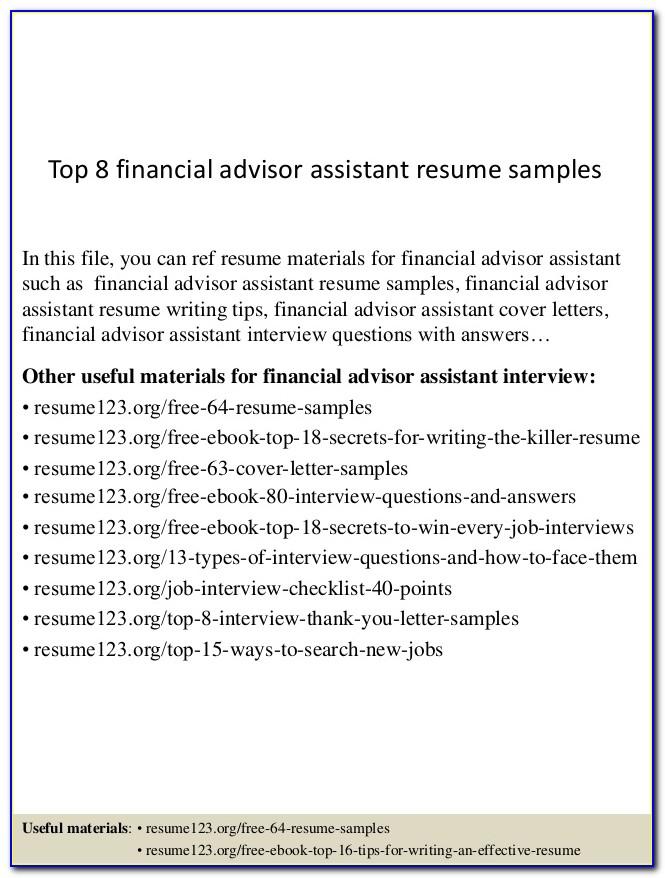 Financial Advisor Resume Format Pdf