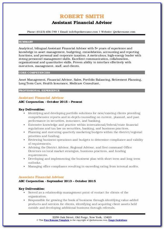 Financial Advisor Resume Sample Free