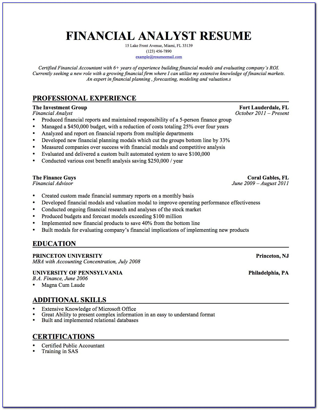 Financial Advisor Trainee Resume Sample