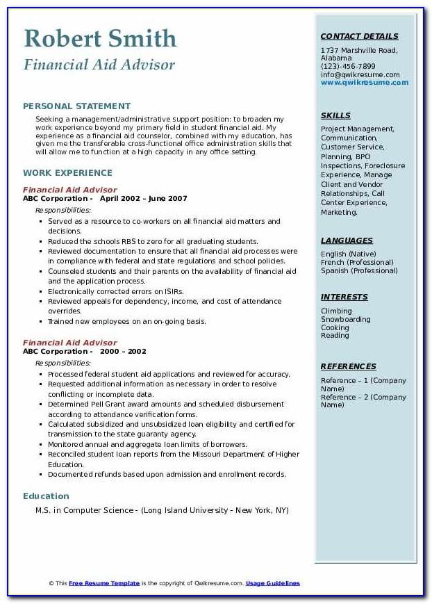 Financial Aid Advisor Resume Sample