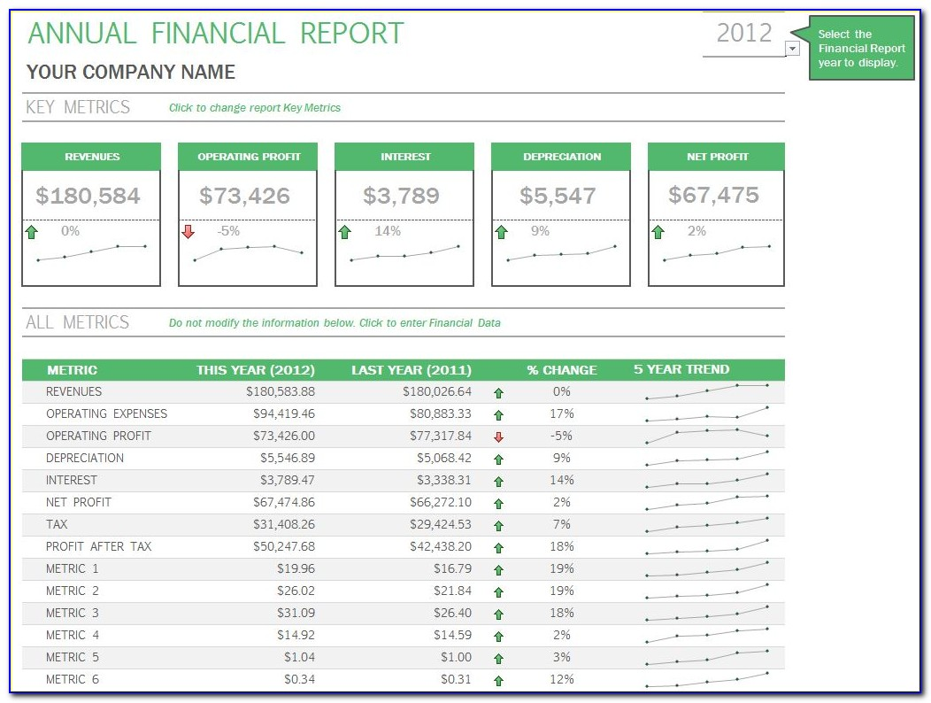 Financial Report Excel Template