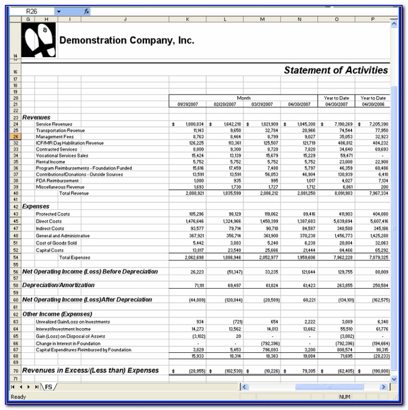 Financial Statements Sample Excel