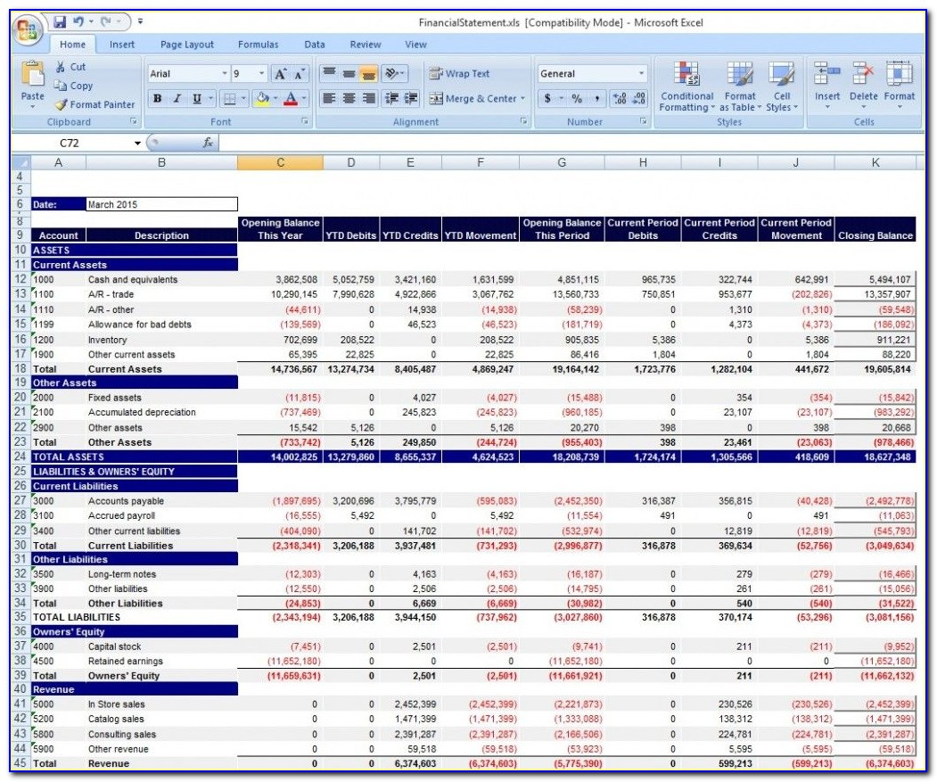 Financial Statements Templates For Excel