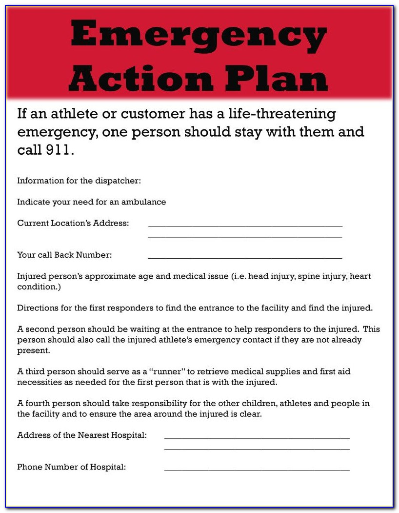 Fire Emergency Action Plan Template Uk