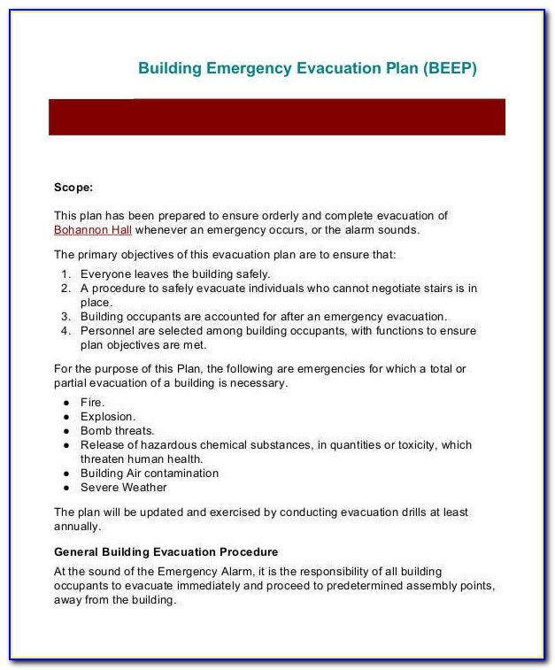 Fire Emergency Plan Example
