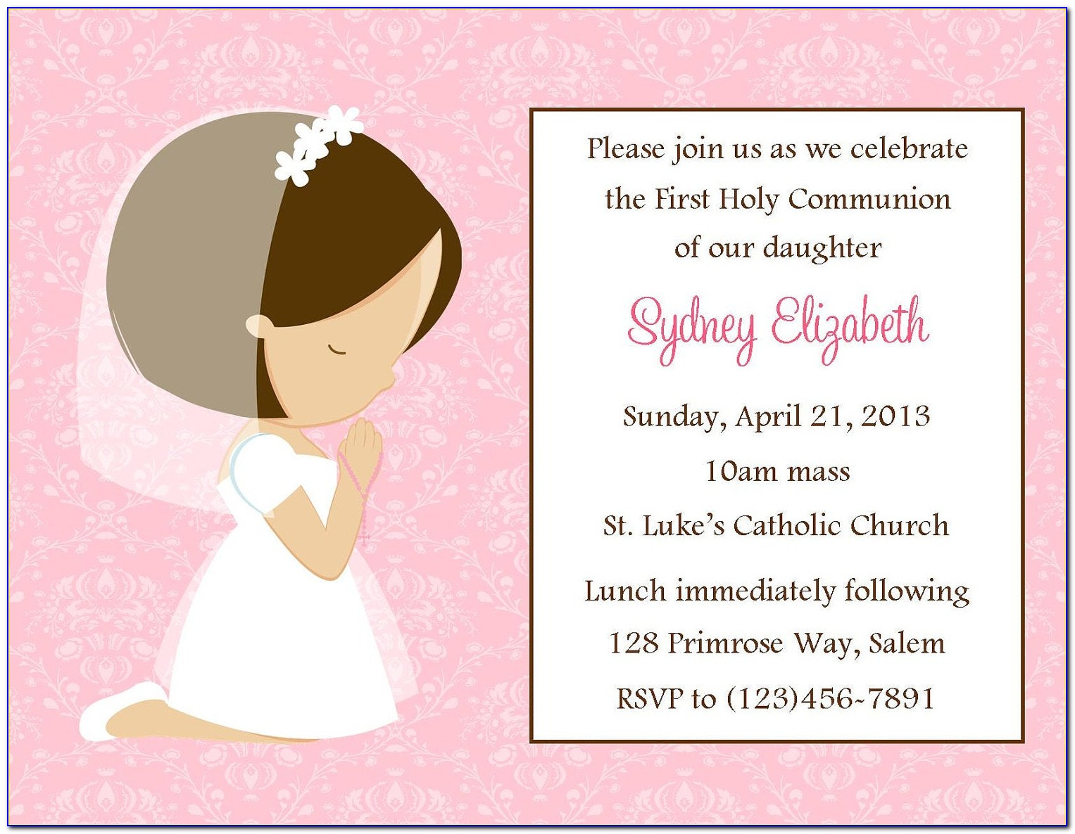 First Communion Invitation Examples