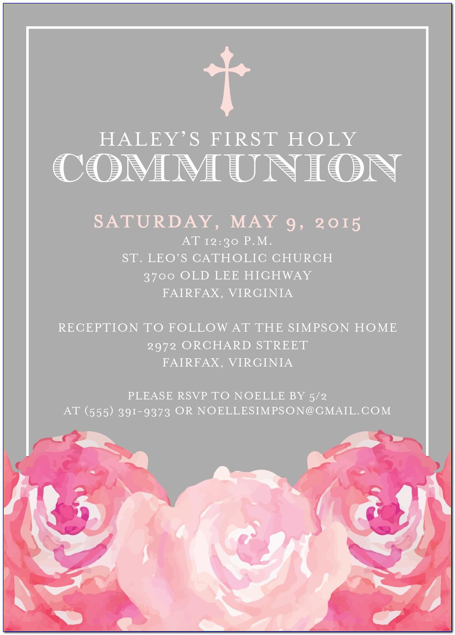 First Communion Invitation Wording Samples