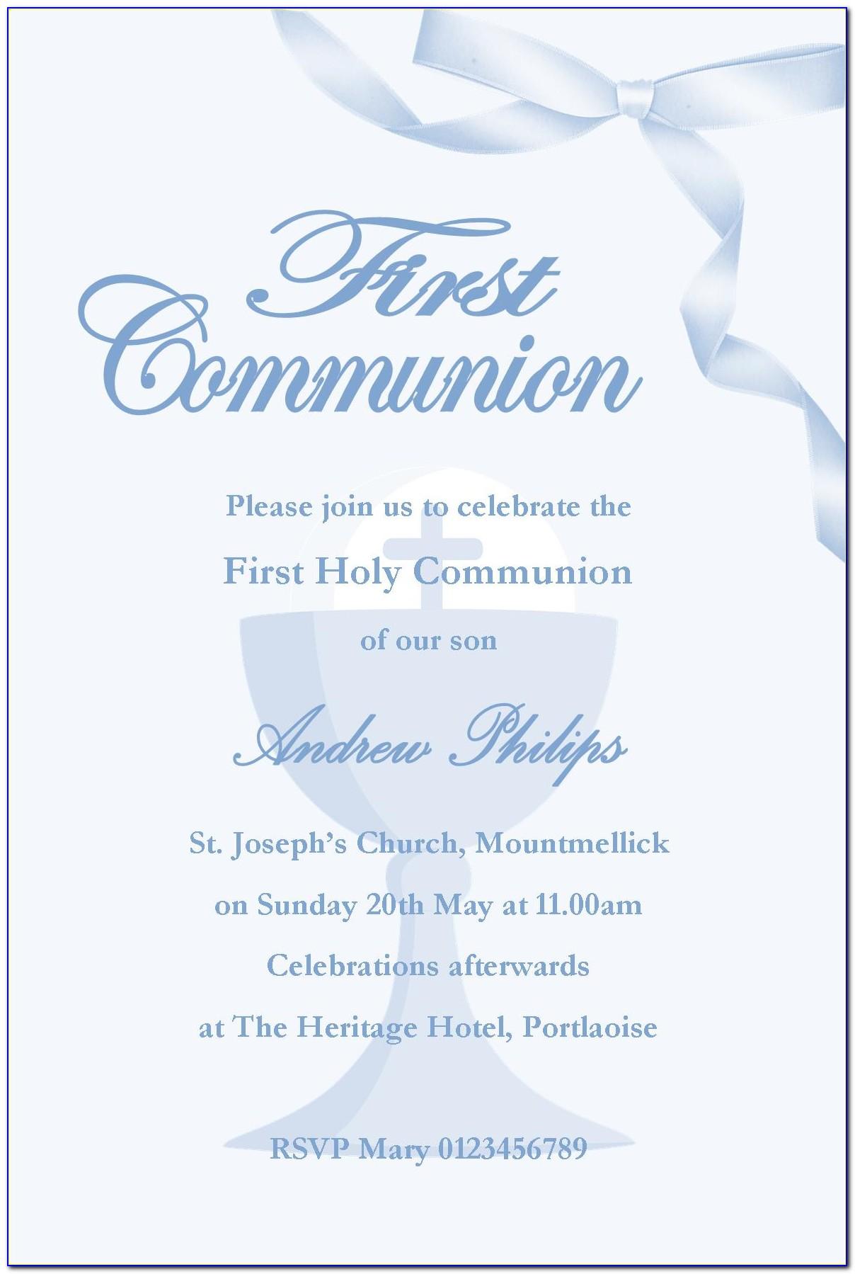 First Holy Communion Invitation Sample