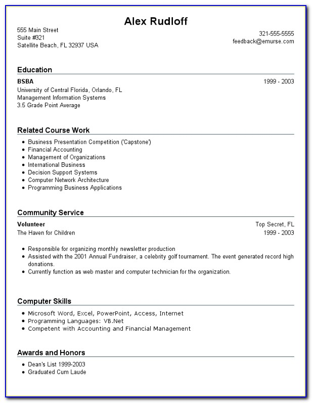 First Resume Examples No Work Experience