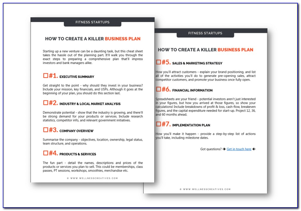 Fitness Center Business Plan Template Free