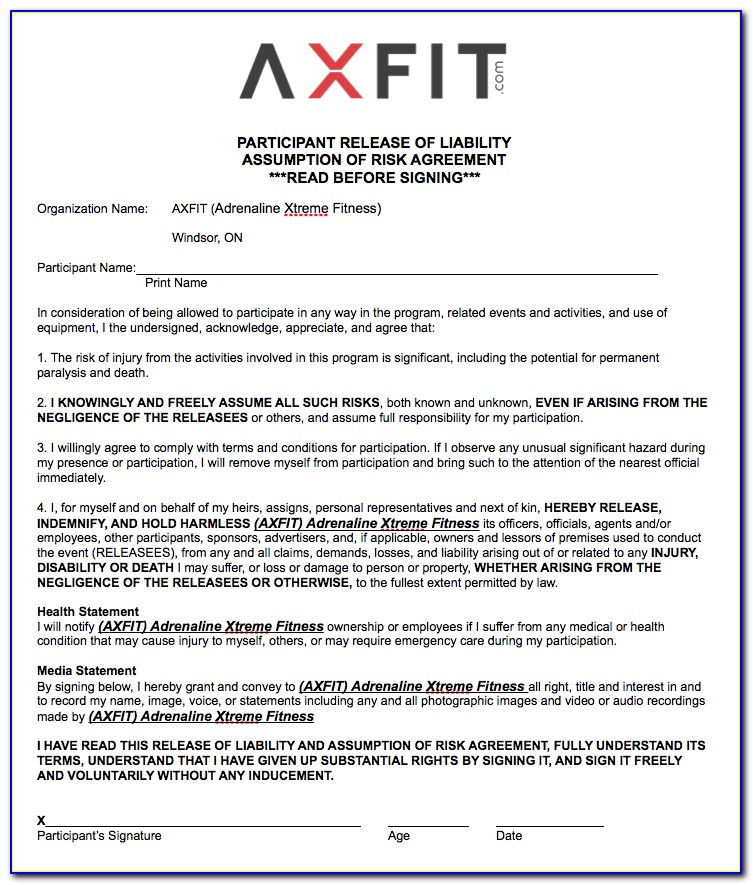 Fitness Class Waiver Form