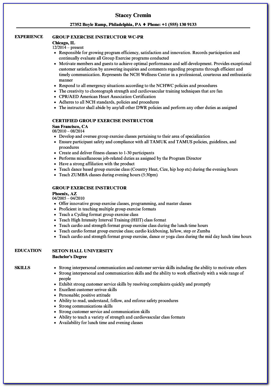 Fitness Trainer Cv Example