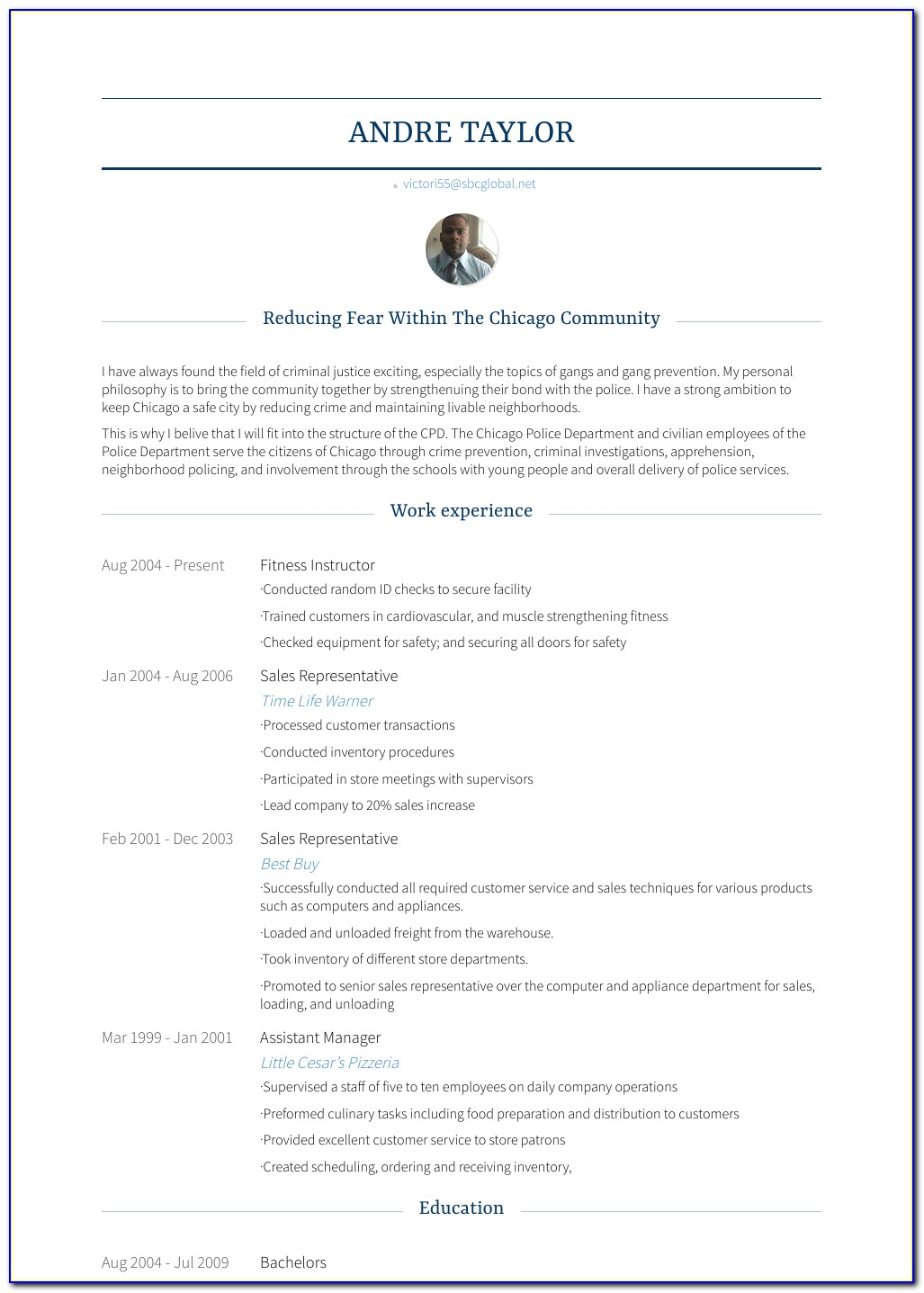 Fitness Trainer Resume Examples