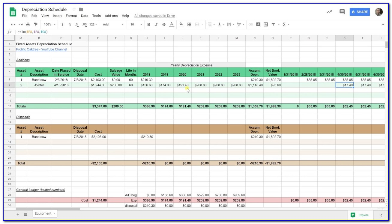 Fixed Asset Movement Schedule Template