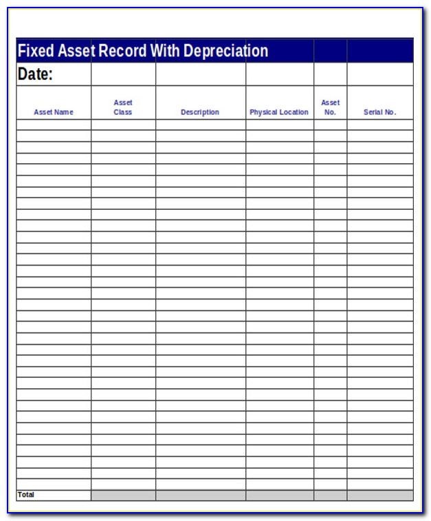 Fixed Asset Register Sample Pdf