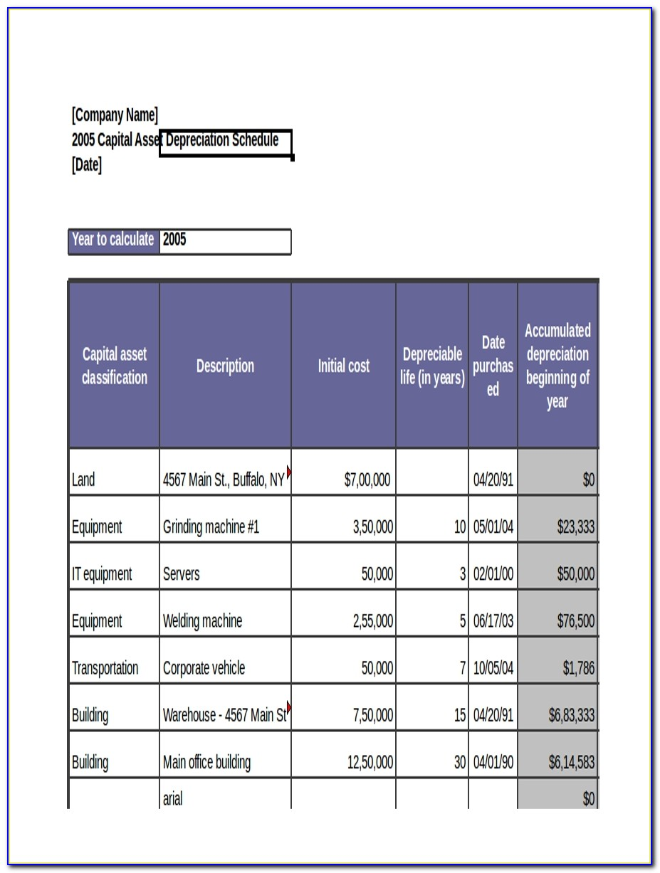 Fixed Asset Schedule Balance Sheet
