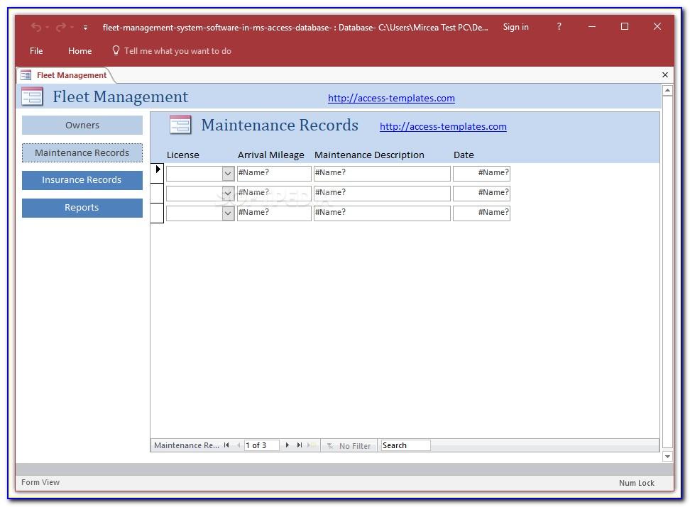 Fleet Maintenance Access Database Template