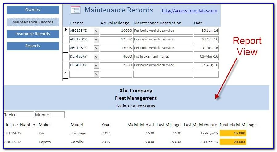 Fleet Maintenance Database Template