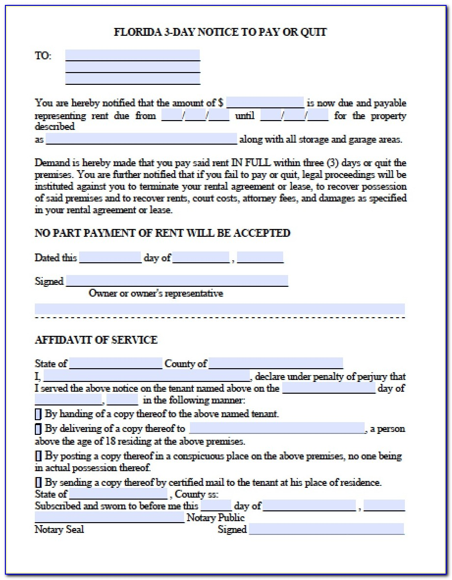 Florida 3 Day Eviction Notice Template