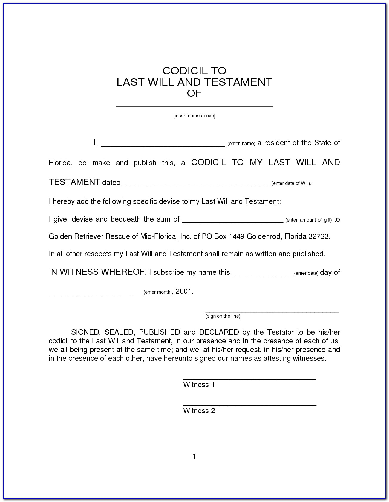 Florida Last Will And Testament Template Free