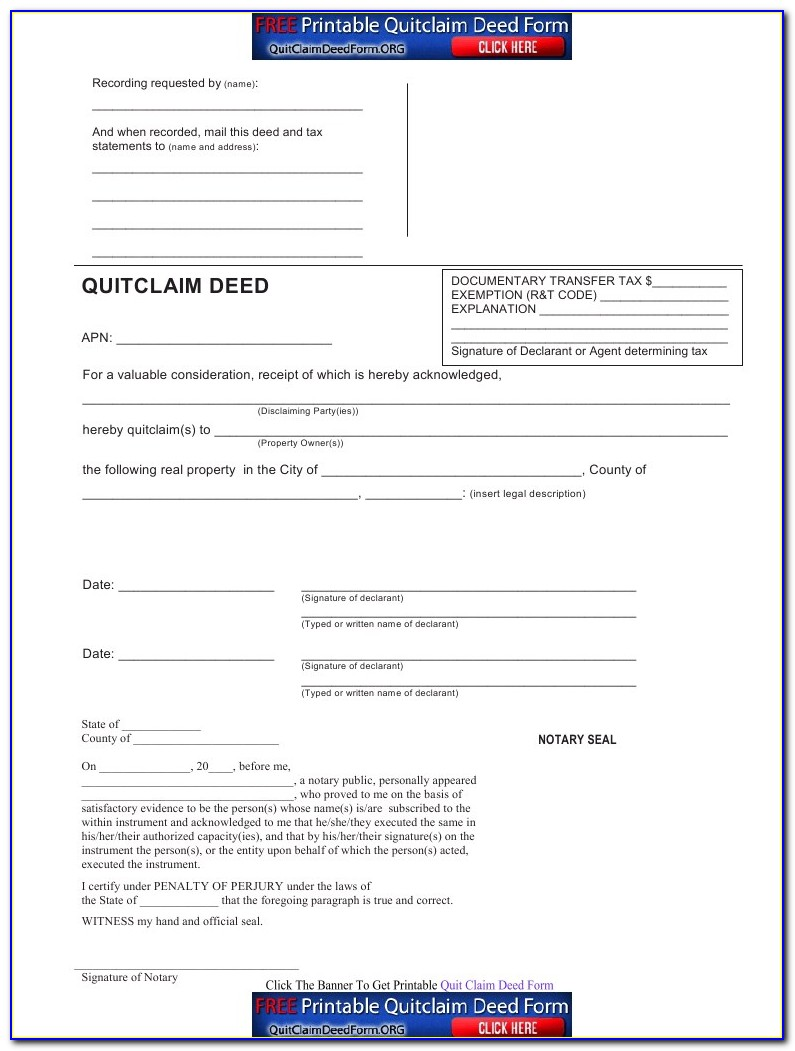Florida Quit Claim Deed Form Duval County