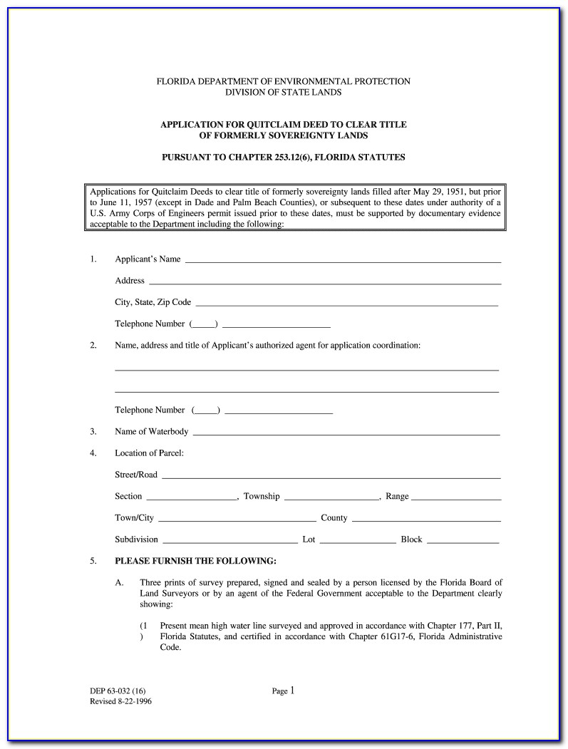Florida Quit Claim Deed Form Free