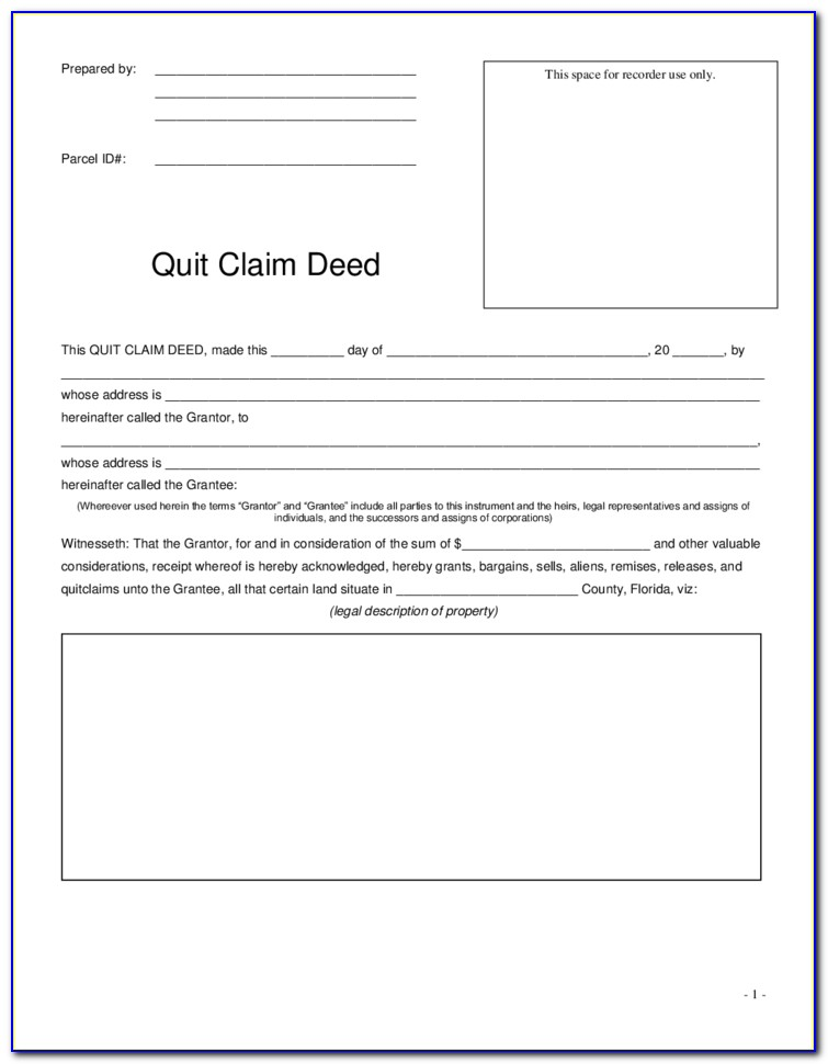 Florida Quit Claim Deed Form Orange County