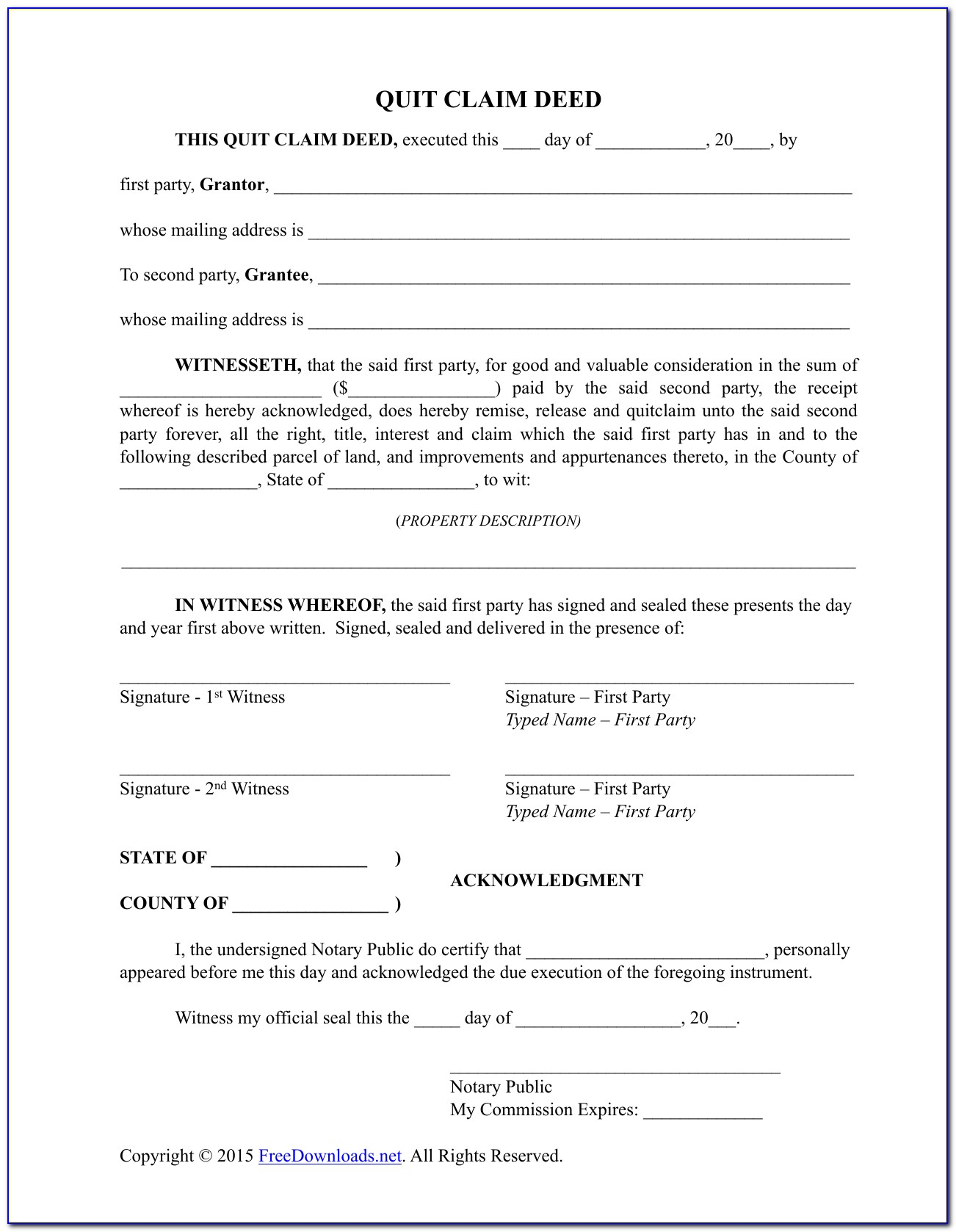 Florida Quit Claim Deed Template Free
