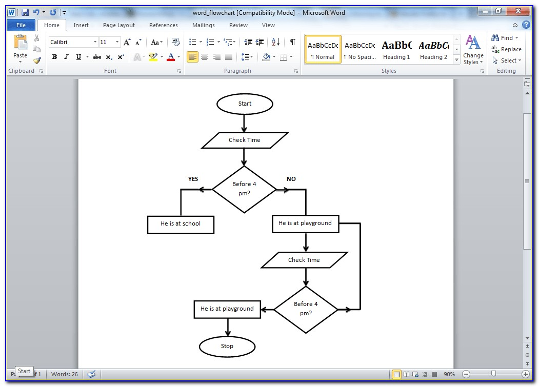 Flowchart Template Microsoft Word 2010