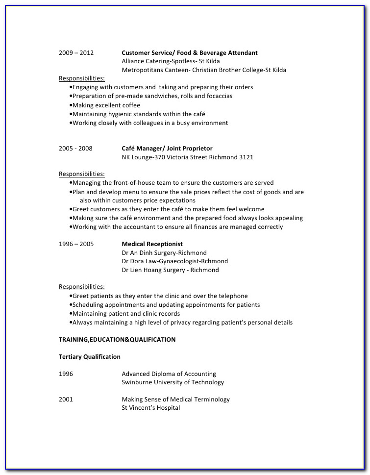 Food And Beverage Supervisor Resume Example