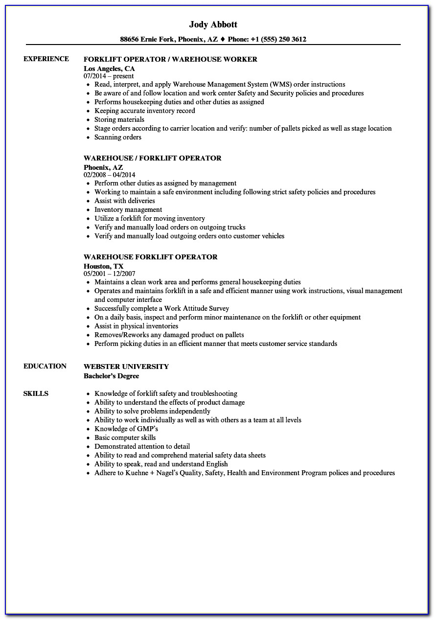 Forklift Driver Resume Template Example