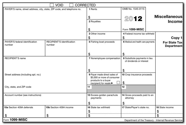 Form 1099 Template Excel