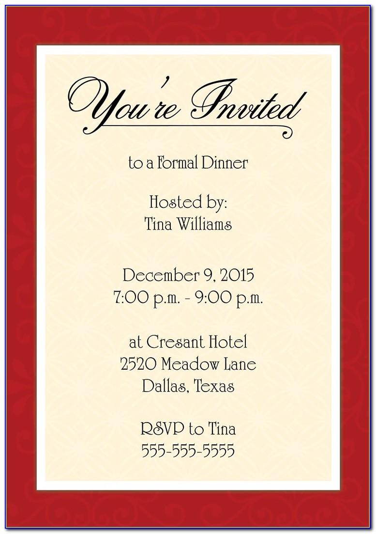 Formal Business Dinner Invitation Letter Sample