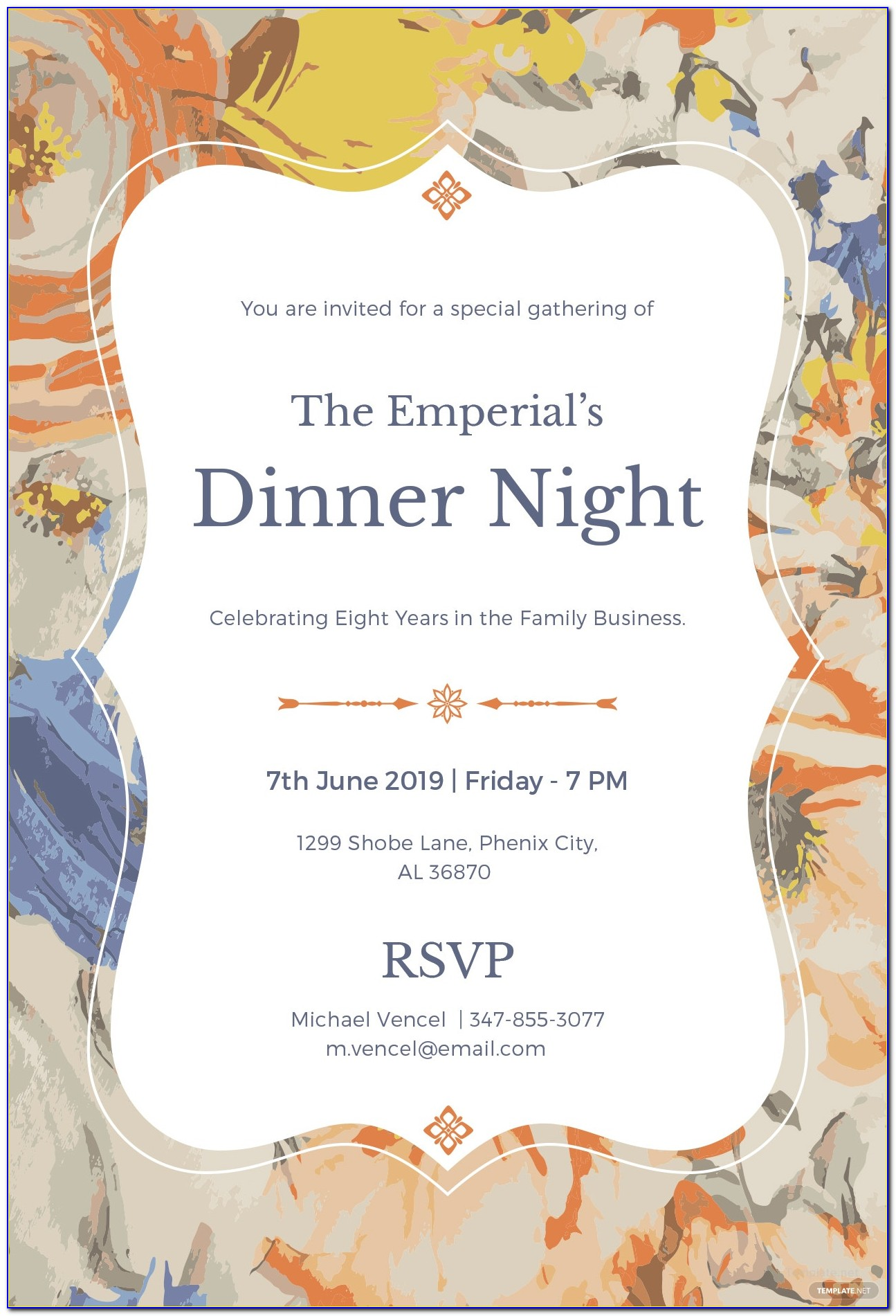 Formal Business Dinner Invitation Sample