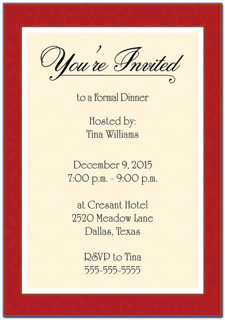 Formal Dinner Invitation Format