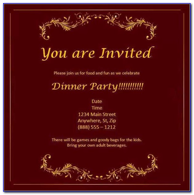 Formal Dinner Invitations Templates