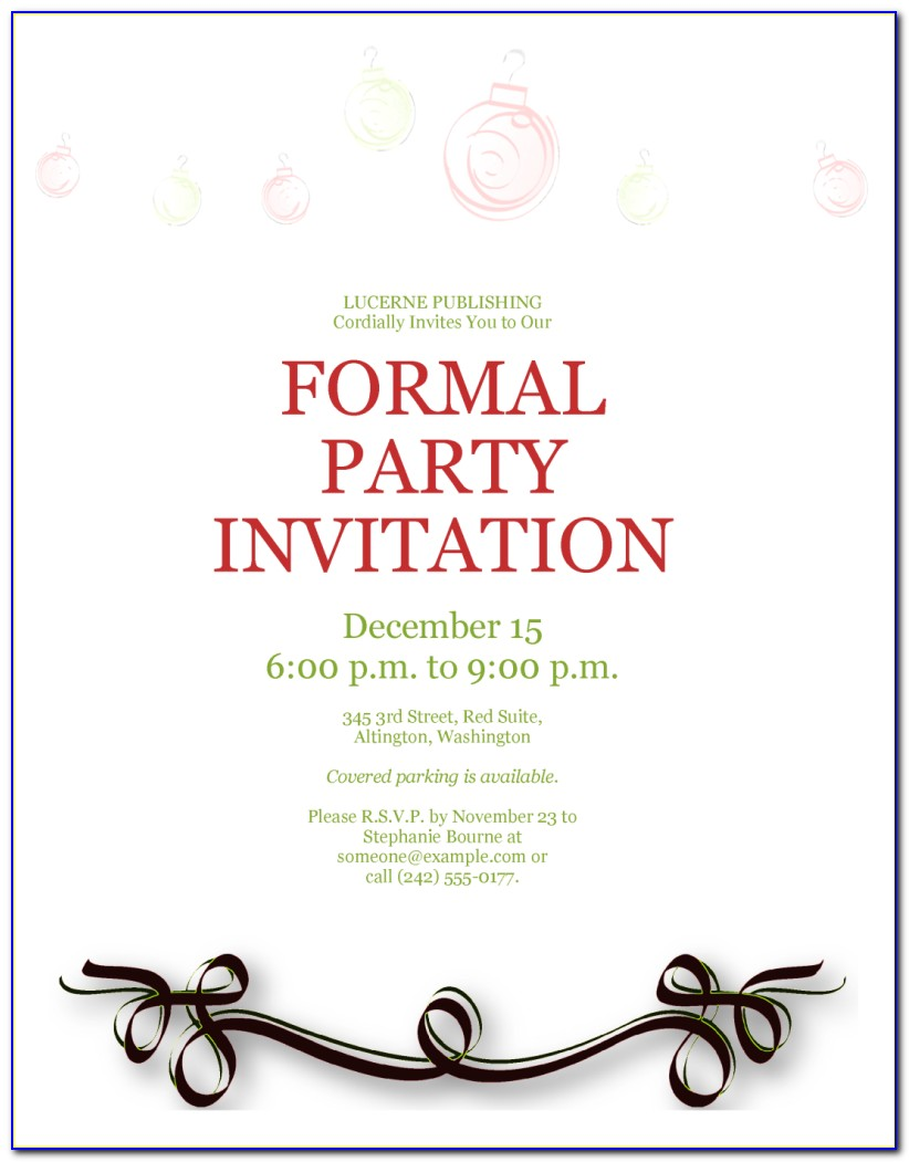 Formal Invitation Letter Sample For An Event