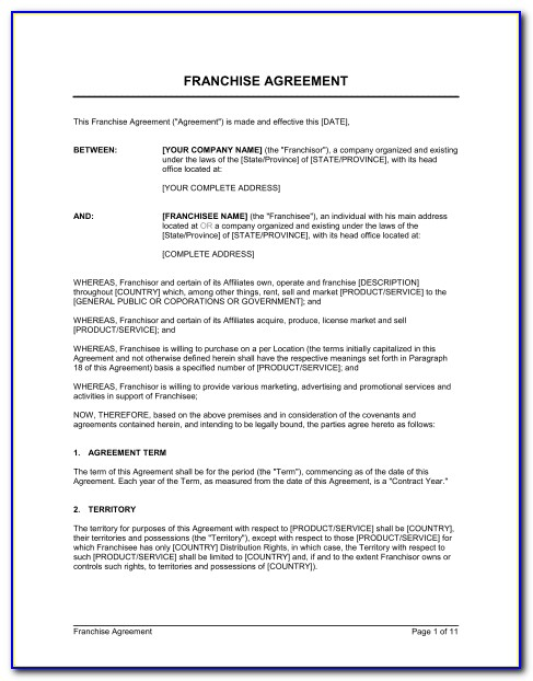 Franchise Agreement Format India
