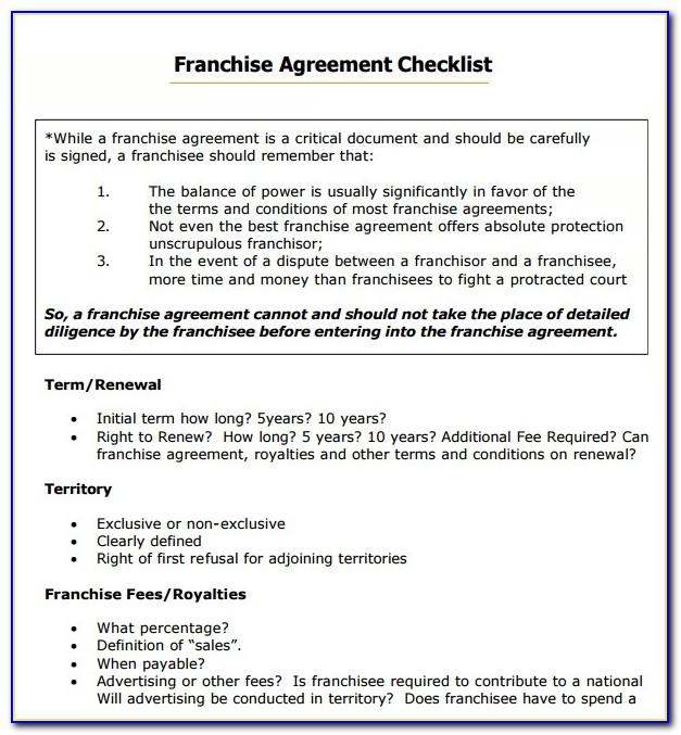 Franchise Agreement Sample India
