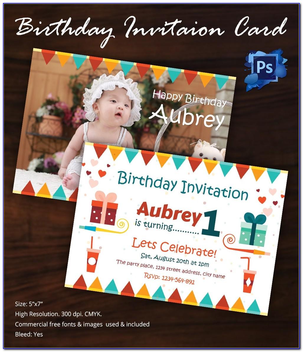Free 1st Birthday Invitation Psd Template