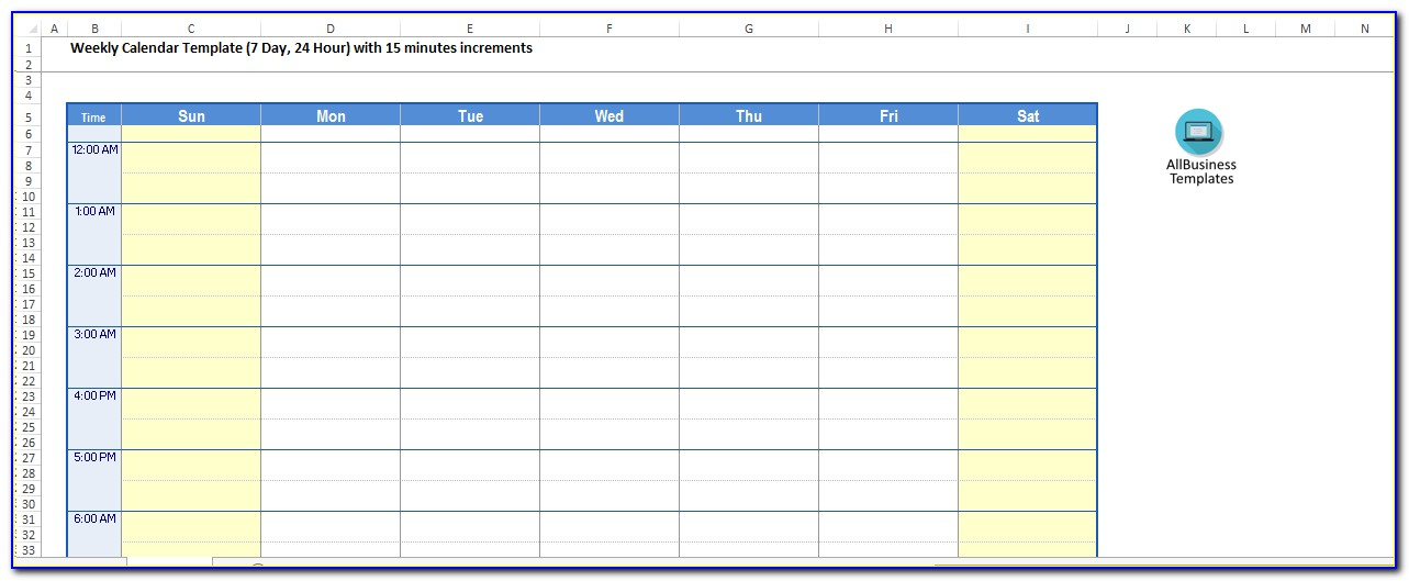 Free 24 Hour Weekly Planner Template